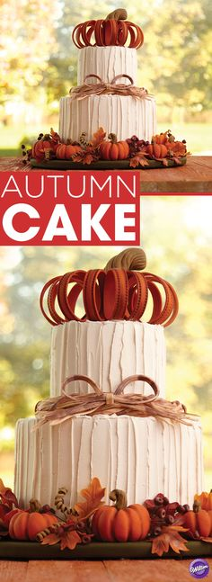 Impress your guests this fall with a towering, pumpkin-topped, two-tier autumn cake. Use Wilton Ready-To-Use Rolled Fondant to create all the realistic-looking, harvest-inspired decorations. It's the perfect centerpiece for your Thanksgiving dessert table or for any fall celebration.