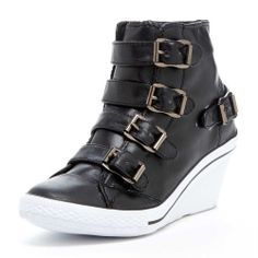f0a9d0f17ab Bucco Angel Wedge Sneakers with Buckle Accents