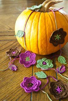 Garland of Crochet Flowers