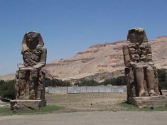 Amenhotep III's Sitting Colossi aka The Colossi of Memnon were built during the Service of Nesi Amenhotep III, a pharaoh of the 18th Dynasty. The statues, which are each about 20 meters (65.62 ft.) in height, are made of quartzite sandstone. The stone is thought to have been quarried from Gebel el-Silsileh (near Aswan), and then transported by land to the Theban Necropolis...