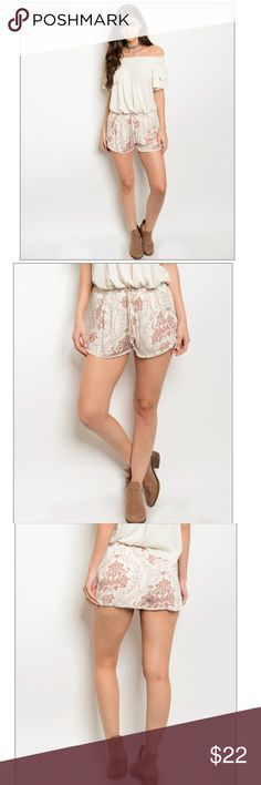 """Ivory Brown Shorts Smock elastic waistband printed shorts. True to seize. Measurements: Small : waist : 13.5"""" lay flat. Medium: 14.5"""". Large: 15"""". Bundle to save on shipping Offers as always welcomed Shorts"""