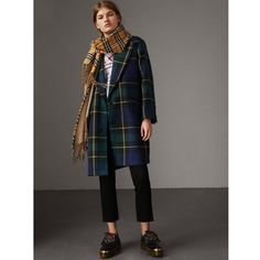 Burberry Lightweight Tartan Wool Tailored Coat (31.581.460 IDR) ❤ liked on Polyvore featuring outerwear, coats, burberry, light weight coat, single breasted wool coat, plaid wool coat and tartan wool coat