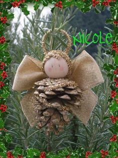 Christmas crafts for kids: Pinecone Christmas Ornament Crafts, Angel Ornaments, Christmas Crafts For Kids, Christmas Angels, Homemade Christmas, Rustic Christmas, Christmas Projects, Holiday Crafts, Christmas Holidays