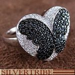 Butterfly Heart White And Black Cubic Zirconia Sterling Silver Ring
