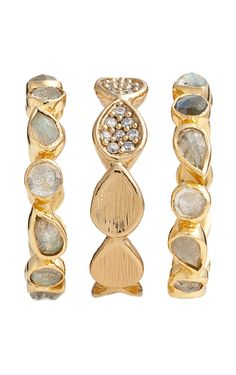 Plan on mixing and matching these shiny gold, scalloped rings to achieve different looks.