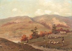 Ludovic Bassarab, Landscape with sheepfold on Prahova Valley Roman, Landscape, Painting, Farming, Harvest, Summer, Scenery, Summer Time, Painting Art