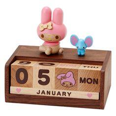 My Melody Wood Wooden Desk Top Perpetual Calendar 2015 SANRIO JAPAN
