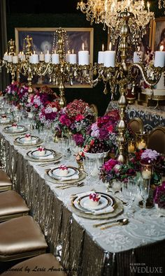 Gold, Silver, Mercury and Raspberry Tablescape