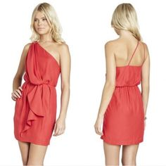 BCBGeneration Red Party Dress sz Large NWT One shoulder-two straps! Size Large red dress with ruffle. NWT *Dress is actually the color red- the first photo makes it look lighter. BCBGeneration Dresses Mini