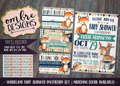 Woodland Baby Shower Invitation Set: Invitation + Reverse, Book Request Insert, Diaper Raffle Ballot/Insert and a Thank You Card!