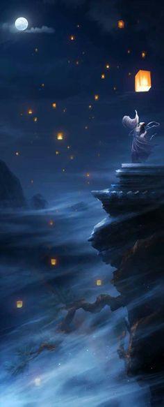 """""""Thả đèn trời ước nguyện hạnh phúc trăm năm, người có vì ta mà nhớ chăng"""""""