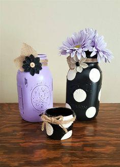 mason jar set, polka dot mason jar, home décor