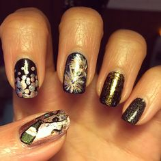 New Year's Eve 2015 - mishmash of designs, but I think lots of fun for the new year :) Bring out the champagne! #newyearsnails #newyearsmani #newyearsnailart #nailart #mani #motd #notd #happy2015 #celebrate2015