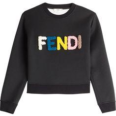 Fendi Statement Sweatshirt ($1,040) ❤ liked on Polyvore featuring tops, hoodies, sweatshirts, black, sweatshirt hoodies, sweat shirts, black top, black sweat shirt and sweat tops
