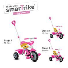 Trojkolka pre deti Play 3v1 od výrobcu kvalitných hračiek smarTrike, je vhodná pre deti od 10 mesiacov. Trojkolka má praktickú teleskopickú rodičovskú rúčku, pomocou ktorej môže rodič pohodlne ovládať jazdu a rýchlosť dieťaťa počas jeho prvých jázd.