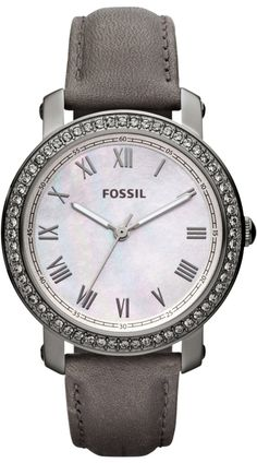 #Fossil #Watch , FOSSIL Emma Leather Watch Grey #ES3188