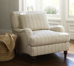 Carlisle Upholstered Armchair #potterybarn - Striped chair in ...