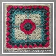 This Dragonfly Granny Square is the Afghan Block in the Crochet A Block Afghan 2017 Crochet Along! Sunburst Granny Square, Crochet Granny Square Afghan, Baby Afghan Crochet, Crochet Cushions, Crochet Bear, Crochet Squares, Crochet Home, Granny Squares, Free Crochet