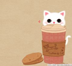 Coffee and cat Emoji Pictures, Cute Cartoon Pictures, Crazy Cat Lady, Crazy Cats, Kitty Wallpaper, I Love Coffee, Coffee Cat, Cute Cartoon Wallpapers, Cat Gif