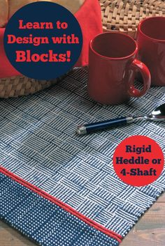 Free weaving pattern! Learn to design with blocks on your rigid heddle loom or 4-shaft loom, and create a fun, customizable runner.