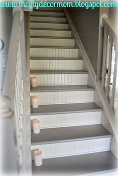 Painted staircase ideas, pattern, projects, inspiration, grey, railing, tutorials, white trim, black, walls, stair makeover, wainscoting, green, how, dark, runner, color, with carpet, treads and risers for your home decoration.