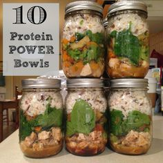 Try whipping up a batch of these protein power bowls and storing them in mason jars to have healthy, on-the-go meals at the ready. Mason Jar Lunch, Mason Jar Meals, Meals In A Jar, Mason Jars, Make Ahead Meals, Quick Meals, Healthy Snacks, Healthy Eating, Healthy Recipes