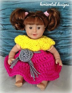 "Horizontal Designs Handmade:  FREE PATTERN: Vintage Style 12"" Baby Doll Dress Free cute crochet pattern for 12"" doll!"