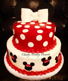 Red Velvet Cake with Cream Cheese Filling and Vanilla Bean Almond Cake. Minnie Baby Shower Theme Cake.