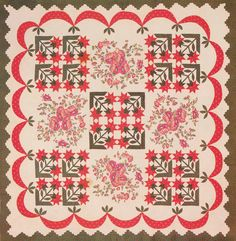 Peony Quilt, 1840. Made by Susan Dawson. Montgomery Co, Maryland.