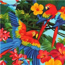 blauer Ara Papagei Tier Stoff Timeless Treasures