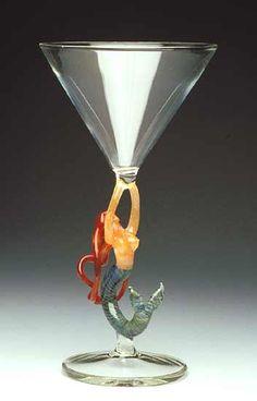 """Mermaid Ascending (Redhead Martini)""  Art Glass Goblet    Created by Milon Townsend  A vibrant flameworked mermaid raises a celebratory toast."