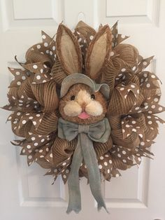 LARGE Easter Wreath, Natural Bunny Face Wreath, Easter Bunny Wreath, Easter Bunny Head Wreath, Burlap Wreath, Easter Decor Door Wreath by RoesWreaths on Etsy https://www.etsy.com/listing/269109586/large-easter-wreath-natural-bunny-face