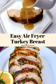 Easy Air Fryer Turkey Breast is a quick recipe that uses a 3 to 4 pound (lb), bone-in or boneless breast. This air fried dish includes a tutorial for how to cook, how long to cook, and the perfect temperature. The turkey is so juicy it will fall off the bone like a tenderloin! Feel free to slice the breast up to make cutlets. #AirFryerTUrkey Air Fryer Oven Recipes, Air Frier Recipes, Air Fryer Dinner Recipes, Air Fryer Rotisserie Recipes, Air Fryer Turkey Recipes, Turkey Fryer, Air Fryer Turkey Breast Recipe, Boneless Turkey Breast Recipe, Sliced Turkey Breast Recipe