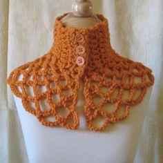Pumpkin Crochet Capelet Cowl  Soft Wool and Alpaca by KnittingGuru, $65.00