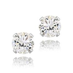 1ct CZ 925 Silver Toned Stud Earrings 5mm >>> Read more reviews of the product by visiting the link on the image. Note:It is Affiliate Link to Amazon.