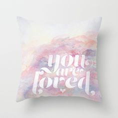 You Are Loved Pastel Watercolors Throw Pillow