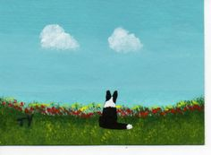 SALE Border Collie Dog ACEO Art Painting Original by ToddYoungArt,