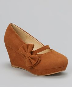 Brown Bow Lovely Wedge