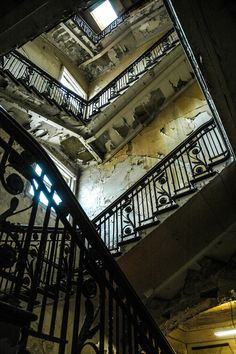 Staircase in the old white star line building in Belfast, Ireland.