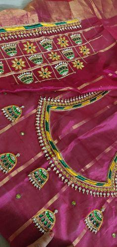 Chudidhar Neck Designs, Kids Blouse Designs, Simple Blouse Designs, Blouse Neck Designs, Embroidery Neck Designs, Floral Embroidery Patterns, Aari Embroidery, Mirror Blouse Design, Hand Work Blouse Design