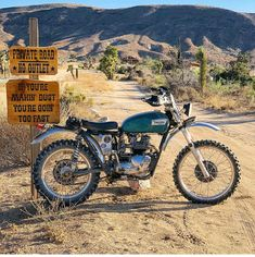 Now that's a way to start your day - Joshua Tree was a great day of shaking down our desert sleds. A broken cable, bend brake rod, van… Triumph Scrambler, Scrambler Motorcycle, Moto Bike, Triumph Motorcycles, Girl Motorcycle, Motorcycle Quotes, Enduro Vintage, Vintage Motocross, Vintage Bikes