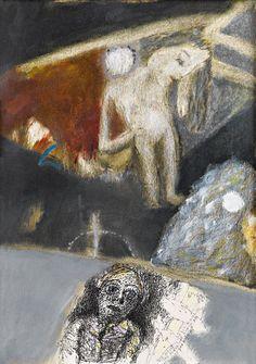 """Burhan UYGUR (1940-1992) İmzalı, 1986 tarihli, karton üzeri karışık teknik, sanatçının kendi el yazısı ile ön yüzünde """"bir meleğin ve bir kuklanın yaz gecesinde buruk aşk şarkıları"""" notu yer almaktadır. 34 x 25 cm /Özbilenler Müzayede"""