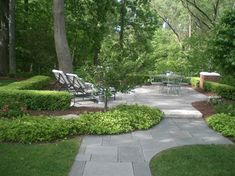Landscaped patio Pachysandra ground cover so pretty