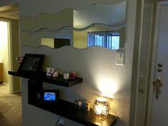 Wavy Mirror EntryWay - Foyer - Shelfs - Ikea best place to buy home stuffs! Entryway Mirror, Foyer, Bedroom Decor For Couples, Ikea, Sweet Home, Decor Ideas, Wall Decor, Shelves, Doors