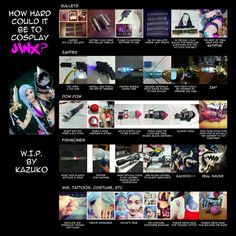 anime, cosplay, Cosplay Reference, Costume, dress, LOL, Jinx Lol, Jinx guns, Jinx armas, tutorial, Crazy and Kawaii Desu,