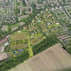 Stedenbouwkundig en landschappelijk prijsvraagontwerp voor een duurzame stedelijk woonwijk aan de rand van Berlijn, op uitnodiging van de Stad Berlijn.