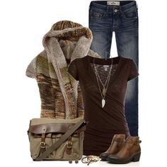 Wrap Band Bottom Top; I love the sweater; I would do a different bag/purse