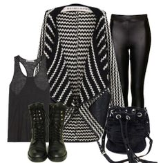 Black White Striped Contrast PU Leather Cardigan