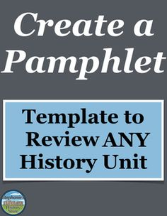 Students review any history topic by creating a pamphlet of their own design with this template. Students pick a driving theme for their pamphlet (6 sample options are provided) and then fulfill 6 other requirements (they choose 6 from 13 provided options). There are options for creativity while balancing historical accuracy. You can use this for ANY history topic. This would be great for a sub! Social Studies Projects, 6th Grade Social Studies, Social Studies Activities, Teaching Resources, Teaching History, Teaching Ideas, Inquiry Based Learning, Project Based Learning, Geography Test