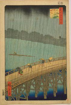 Utagawa Hiroshige: Sudden Shower at Ohashi Bridge — 大はしあたけの夕立 - Japanese Art Open Database